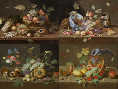 Jan van Kessel II, 'Series of four still lifes   A. Still life of a basket of fruit, a bunch of asparagus and a guinea pig B. Still life of a monkey and a large china bowl C. Still life of a bunch of flowers, guinea pigs, bunches of grapes and figs D. Still life of a basket of fruit, a squirrel and a large macaw', 17th century