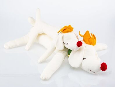 After Yoshitomo Nara, 'Pup King: Sleeping Dog Dolls (small and medium) (two works)'