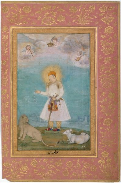 """Govardhan, '""""Akbar With Lion and Calf"""", Folio from the Shah Jahan Album', ca. 1530–1630"""