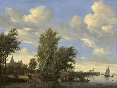 Salomon van Ruysdael, 'River Landscape with Ferry', 1649
