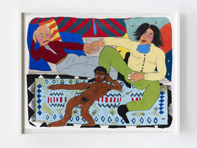 Soufiane Ababri, 'Bed work / Oscar Wilde offering André Gide a young Arab', 2020