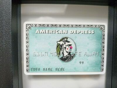 "D*Face, 'D-FACE, ""AMERICAN DEPRESS' CREDIT CARD RARE', 2008"