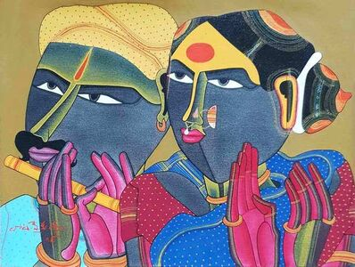 "Thota Vaikuntam, 'Telengana Couple, Acrylic, Charcoal on Paper by Modern Artist ""In Stock""', 2018"