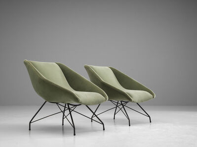 Carlo Hauner, 'Pair of Green Velvet Lounge Chairs', 1950s