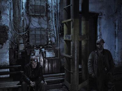 Jerome Sessini, 'Coal miners awaiting the lift to go at the bottom of the mine. Donetsk, Ukraine.', 2014