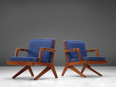Olavi Hänninen, 'A Pair of 'Bumerang' Chairs with Kingsblue Upholstery', 1960s