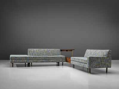 Harvey Probber, 'Lounge Set in Mahogany and Blue Upholstery', 1960s