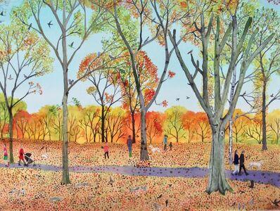 Emma Haworth, 'Autumn woods walking the dog', 2020