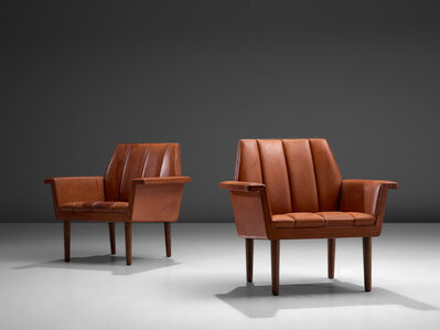 Helge Vestergaard Jensen, 'Pair of Red Leather Lounge Chairs', 1960