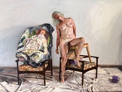 Amanda Davies, 'The artist's model, standing with crushed Stoner painting', 2019