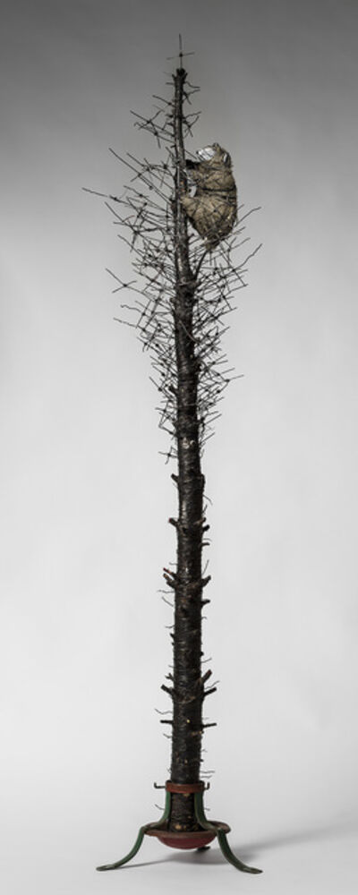 Elizabeth Jordan, 'Tall Tree sculpture with wire & creature: 'O' Tannenbaum'', 2015