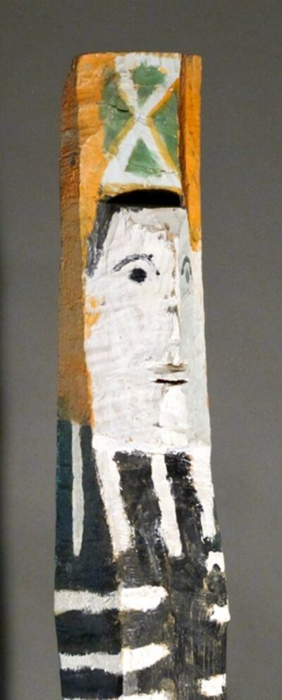 CHARLIE WILLETO, 'Standing Figure, Charlie Willetto Navajo Folk Art wood black white green orange', 1962-1964