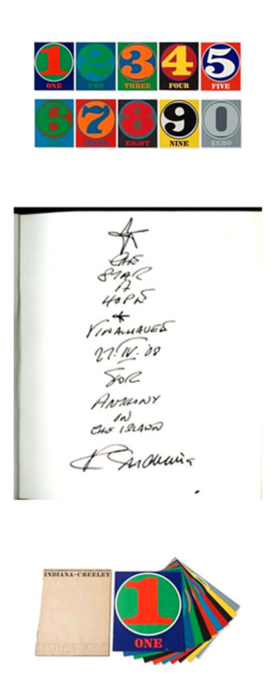 Robert Indiana, 'Original Signed Drawing and Ink Inscription from Star of Hope, Vinalhaven Maine to Anthony, Numbers (Signed) Limited Edition Book of 10 Silkscreens with f', 1968-2008