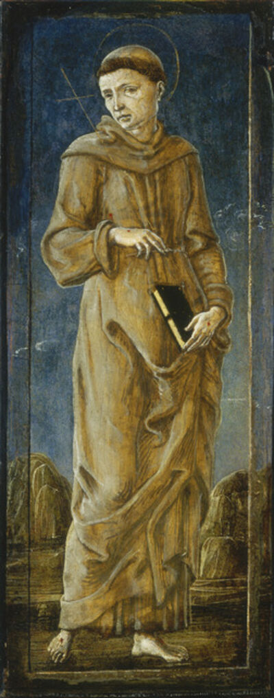 Cosmè Tura, 'The Annunciation with Saint Francis and Saint Louis of Toulouse [far left panel]', ca. 1470/1480