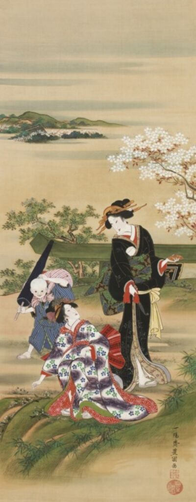 Utagawa Toyokuni I, 'Herb Gatherers at Mimeguri', ca. 1816