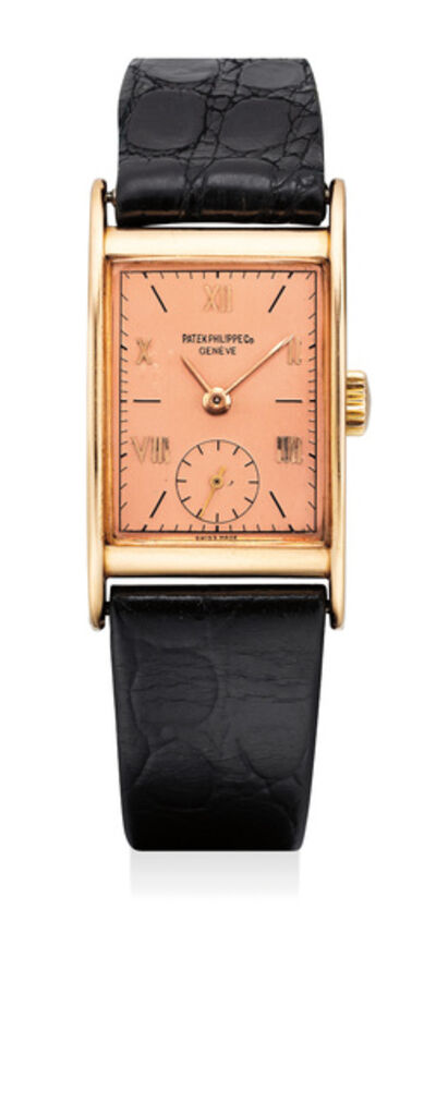 Patek Philippe, 'A fine and attractive pink gold rectangular wristwatch with rose-colored dial', 1945