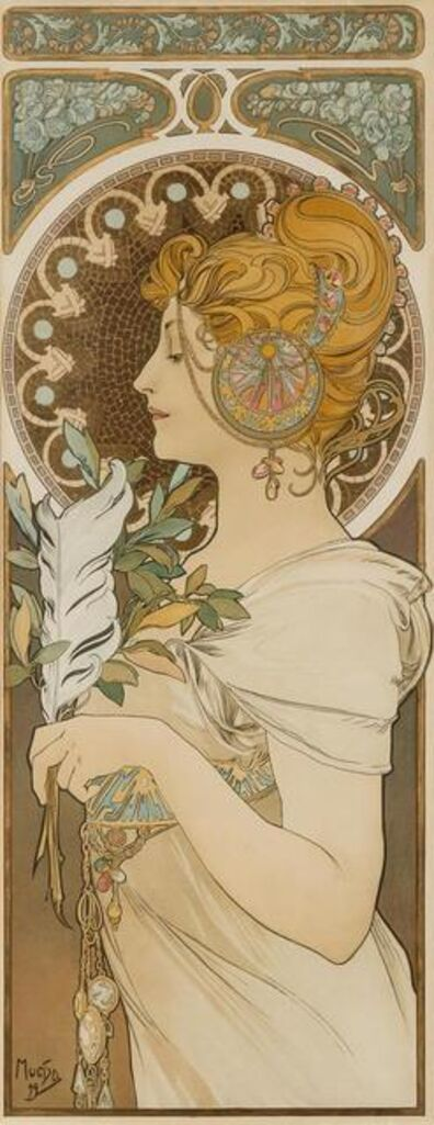 Alphonse Mucha, 'La Plume and Primavere (a pair of works)', 1899