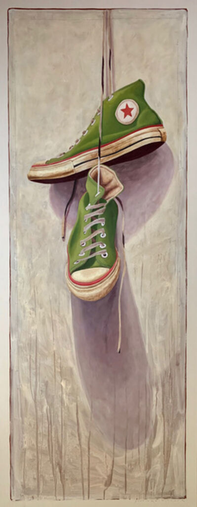 "Santiago Garcia, '""#1330"" photorealist oil painting of green high top converse on neutral background', 2019"
