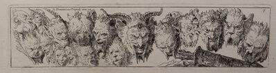 Giovanni Domenico Tiepolo, 'Heads of Satyrs and Grotesque Heads', 18th century