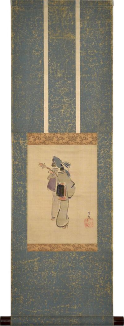 Kobayashi Kiyochika 小林清親, 'Two Minstrels', post 1880s