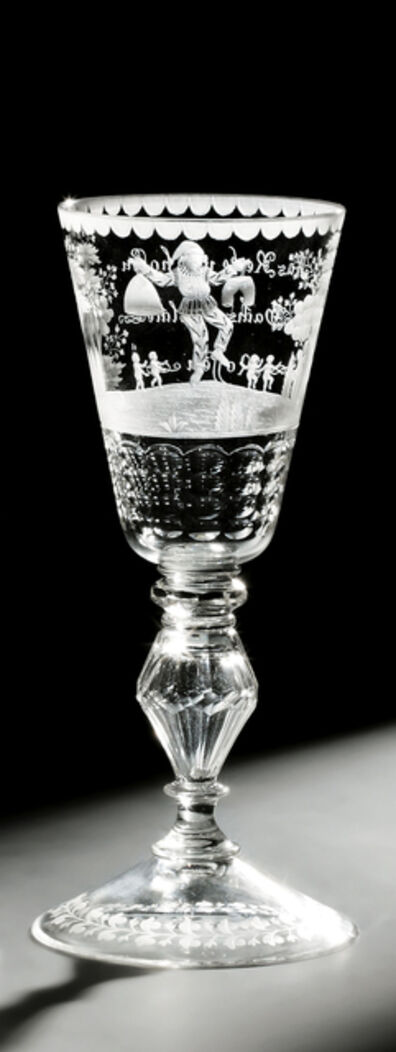 Baroque Glass, 'Goblet with satire on procreation', Hesse or Saxony-c. 1740
