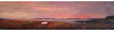 """Larry Horowitz, '""""Dinghy By The Bay"""" oil painting of a bay with a mauve sky and warm earth tones', 2017"""