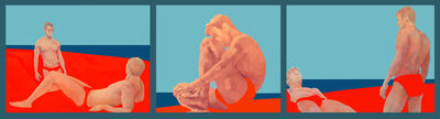 Charles Pachter, 'Sandbar Trilogy - pop style, men, swimsuits, beach, figurative acrylic on canvas', 1995