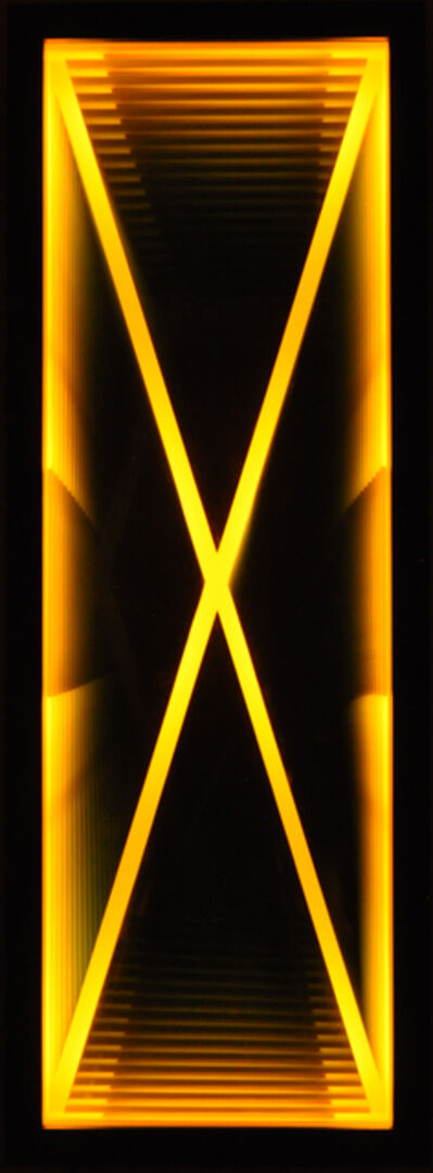 Kenneth Emig, 'Velocity - Illuminated amber yellow X, reflective light wall art', 2021