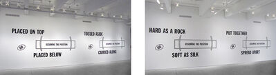 Lawrence Weiner, 'HARD AS A ROCK OR (ASSUMING THE POSITION) SOFT AS SILK PUT TOGETHER OR (ASSUMING THE POSITION) SPREAD APART PLACED ON TOP OR (ASSUMING THE POSITION) PLACED BELOW TOSSED ASIDE OR (ASSUMING THE POSITION) CARRIED ALONG', 1989