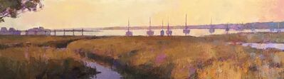"Larry Horowitz, '""Harbor in Amber"" Oil painting of earth toned marsh and purple harbor at dusk', 2019"