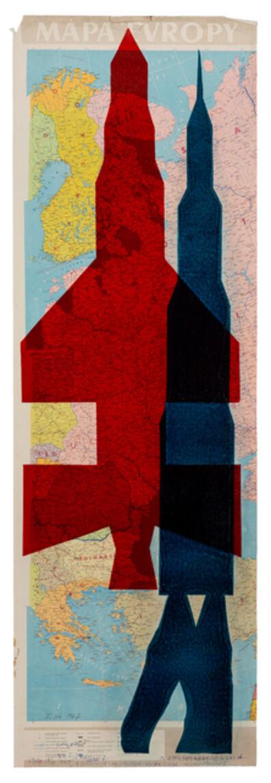 Stano Filko, 'Map of Europe (Rockets)', 1967