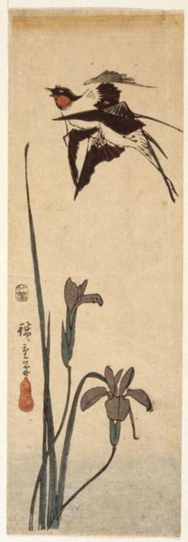 Utagawa Hiroshige (Andō Hiroshige), 'Swallows and Iris', 19th century
