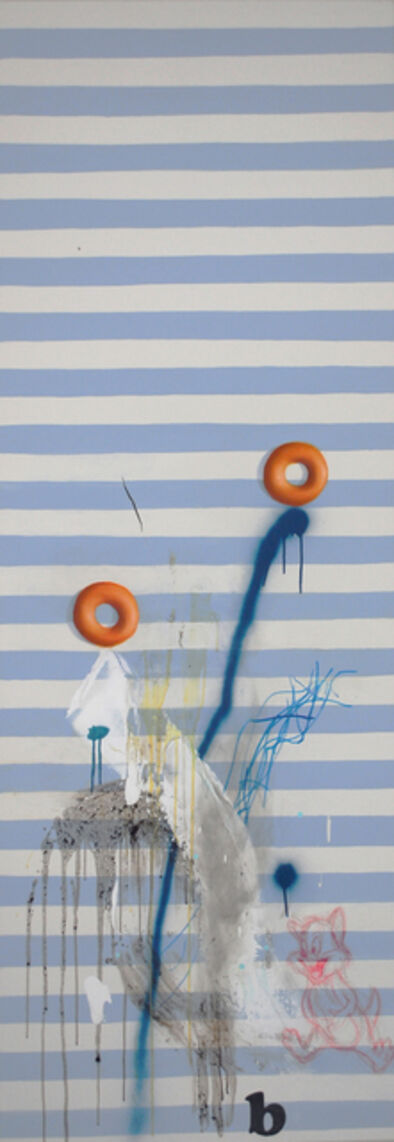 Ed Valentine, 'Still Life with a Rip, Two Painted Donuts and Twenty Blue Stripes', 2015