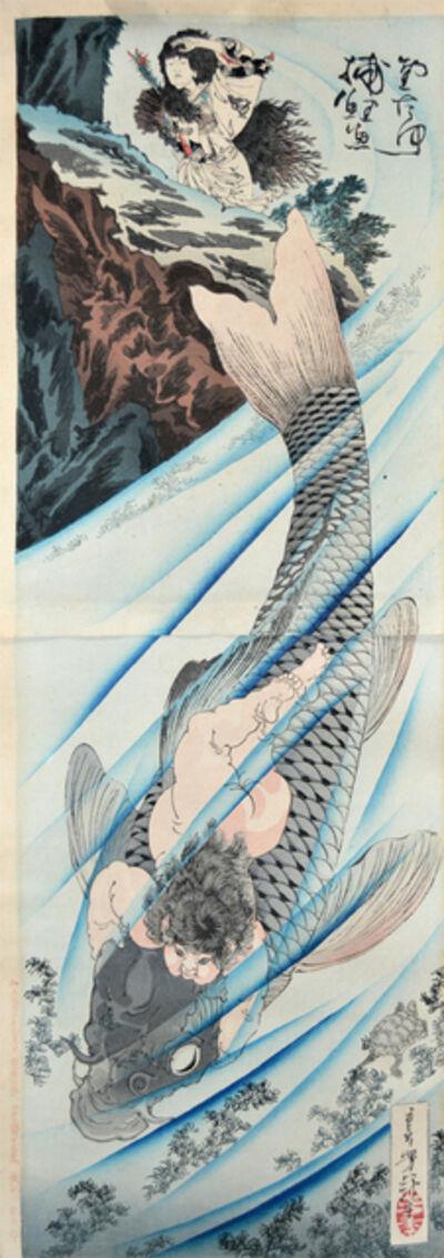 Tsukioka Yoshitoshi, 'Kintaro Snaring a Giant Carp', 1887