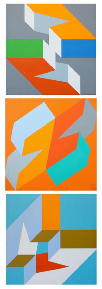 Richard F. Dahn, 'Gray, Orange, and Blue Field Triptych', 1968