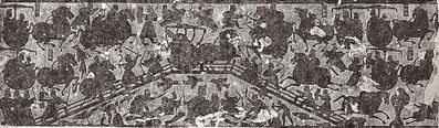 'Battle at the Bridge, detail from a rubbing of a stone relief in the Wu family shrine (Wuliangci)', 151 CE