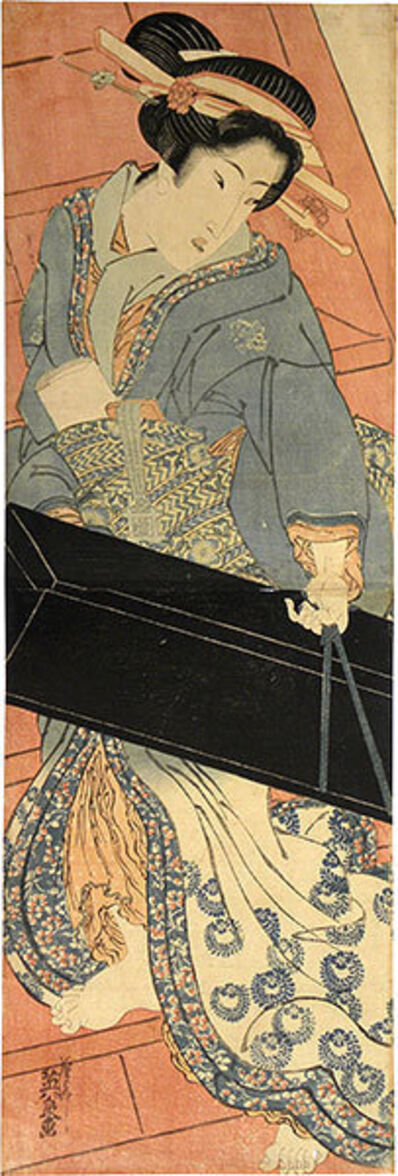 Keisai Eisen, 'Geisha Ascending Stairs with Shamisen Box', ca. 1818-30