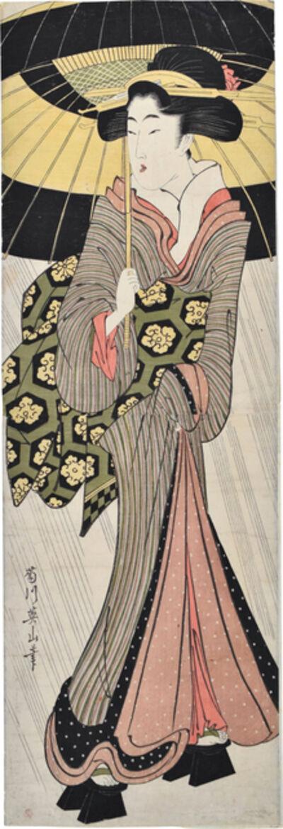 Kikukawa Eizan, 'Beauty with Umbrella', ca. 1810