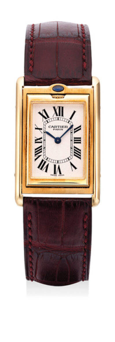Cartier, 'A fine and attractive limited edition yellow gold reversible rectangular wristwatch with certificate and box, numbered 68 of a limited edition of 365 pieces', 1999