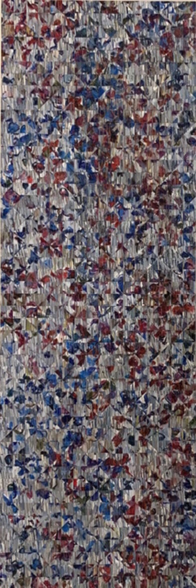 Irene Zweig, 'Gray with Red and Blue - vertical abstract natural geometry', 2019