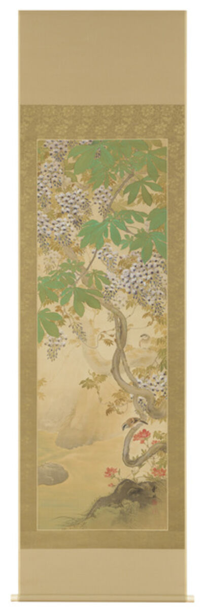 Hirose Touho, 'Hanging Scroll, Wisteria and Sparrows (T-3797)', Taisho era (1912 to 1926)-1920s