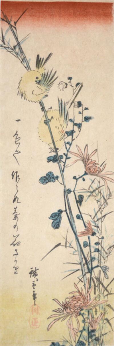Utagawa Hiroshige (Andō Hiroshige), 'Small Birds and Chrysanthemums', ca. 1840