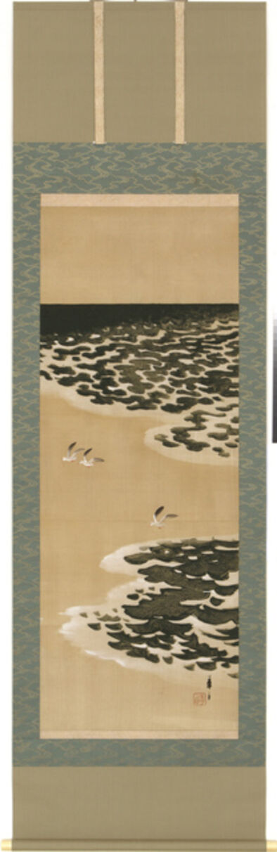 Tsuji Kakō, 'Hanging Scroll, Seagulls by the Ocean Shore (T-3589)', Taisho, Showa era, 1920s