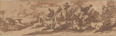 Charles Parrocel, 'Cavalry Battle near a River'