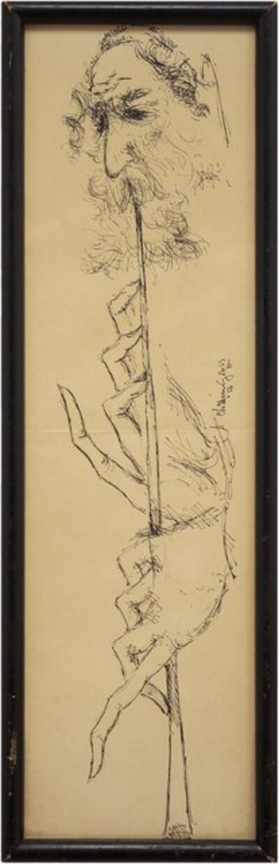 Chaim Gross, 'Judaica Drawing, Flute Playing Klezmer Musician Rabbi', Mid-20th Century