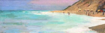 "Larry Horowitz, '""Morning Surf"" Painterly Depiction of Beach, Bright Blues, Pink Sky, Ochre Dunes', 2010-2018"