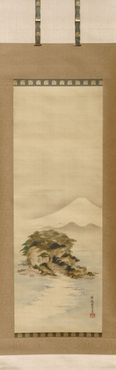 Kano Shuei, 'The island Enoshima with Mt. Fuji and flying cranes (T-1561)', 19th Century