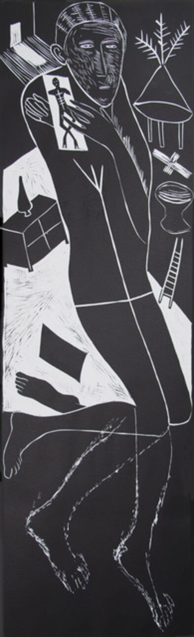 Mimmo Paladino, 'Atlantico II ( Figure Kneeling with Ladder & Chest of Drawers)', 1987