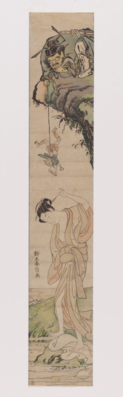 Suzuki Harunobu, 'The demon slayer Shōki has an imp deliver a love message to a washerwoman', 1765-1770