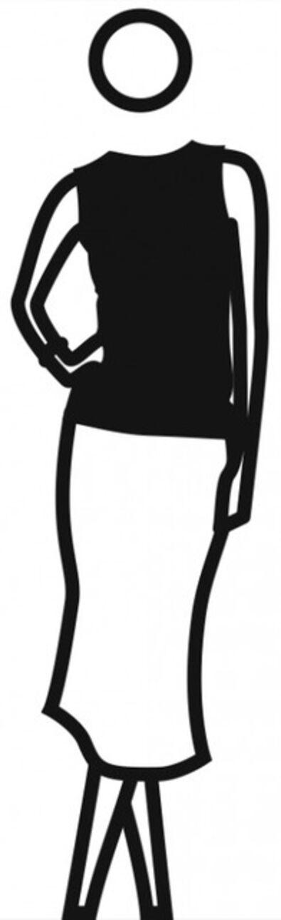 Julian Opie, 'Elly, skirt, top hand on hip, legs crossed', 2001